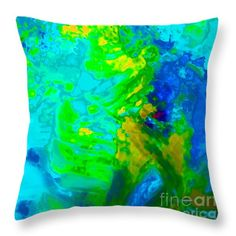 Color Wash Abstract Cyan Throw Pillow by Regina Geoghan