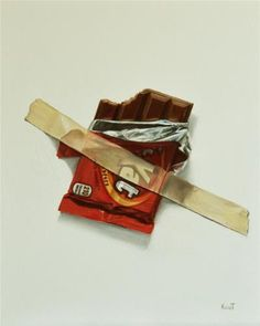 """In Case of Chocolate Emergency 4 Kit Kat Trompe LOeil,"" oil on panel, 8"" x 10"" - SOLD"