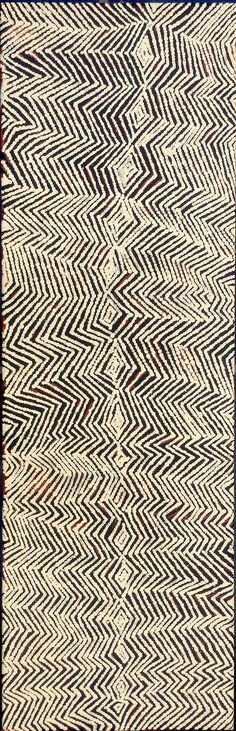 Bobby West Tjupurrula - Ancestral Dreaming Tingari stories - 87 x 28 cm http://www.aboriginalsignature.com/art-aborigene-papunya-tula/bobby-west-tjupurrula-ancestral-dreaming-tingari-stories-87x28cm
