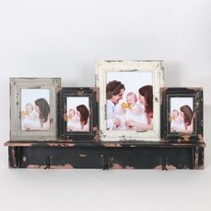 Winsome Four Collage Picture Frames with Wood Shelf, Multi, Size 4x6 (MDF)