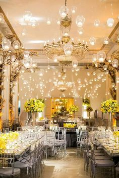 Copacabana Palace w/ yellow + silver + lots of lights decoration