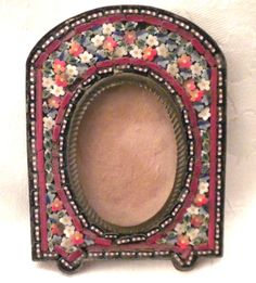 EARLY - ANTIQUE / VINTAGE OLD Italian MICRO MOSAIC Miniature PICTURE FRAME