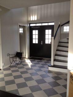 NCS 9000 pardörr - Sök på Google Hall Flooring, Linoleum Flooring, Kitchen Flooring, Main Entrance, Entry Hall, Entry Doors, Halle, Swedish Farmhouse, Checkered Floors