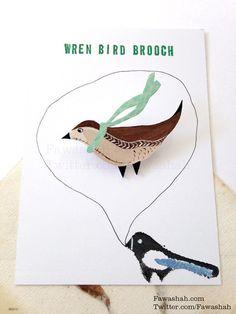 Wren Bird Brooch, Hand Painted, Handmade, Animal Illustration, Badge, pin, Jewellery, Jewelry