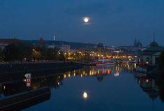 Prague, Full Moon Reflecting In Water Full Moon, Prague, Water, Harvest Moon, Water Water, Aqua, Blue Moon