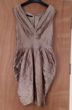 Primark Pewter Gold Satin Effect Crushed Silk Dress Size 8 Perfect For Christmas
