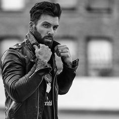 Beard Styles For Men, Hair And Beard Styles, Black Leather Biker Jacket, Leather Men, Leather Jackets, Moustache, Hipster Man, Men Photography, Awesome Beards