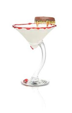 SKYY Vampire's Elixir Ingredients 1 1/2 oz. Skyy Infusions Raspberry Vodka  1 oz. Half and Half Cream 3/4 oz. White Chocolate Liqueur Strawberry Syrup  Instructions Dress strawberry syrup on the inside and rim of a chilled martini glass. Combine all ingredients in a cocktail shaker with ice. Shake vigorously and strain into martini glass. Garnish with vampire teeth.