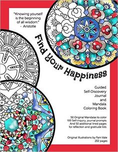 Amazon Find Your Happiness Guided Self Discovery Journal And Mandala Coloring