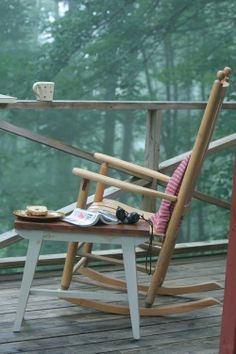 Early morning coffee, bagle, book to read here on the front porch....