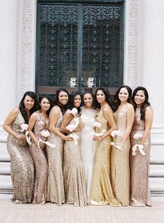 metallic bridesmaid dresses http://trendybride.net/beautiful-metallic-bridesmaid-dresses/ {trendy bride blog}