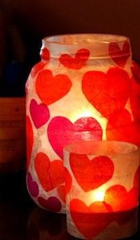 Add a little extra romance to candle jars with these hearts! A great idea for Valentine's day!