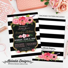bridal shower black and white stripe baby girl shower invitation gold floral chalkboard wedding baptism (item 363) shabby chic invitations