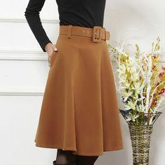 New arrival autumn winter wool skirt for women plus size long skirt high waist pleated skirts women