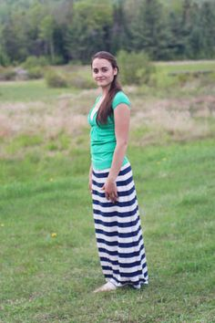Navy Blue and White Striped Maxi Skirt by TheClassyCrocheter, $25.00