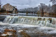 Grand River Dam: there are number of small dams along the Grand River in Elora, Ontario, Canada that control the water flow thru the Elora Gorge.