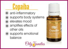 Copaiba Young Living Essential Oil - Anti-inflammatory, elevates mood and more #oilyfamiles #youngliving