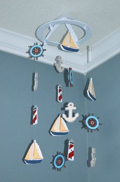 Nautical Sailboat Baby Nursery Mobile by FlutterBunnyBoutique, $57.00 - Anchor Lighthouse Wheel Sailboat
