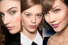"""THE LOOK: After several seasons of matte skin, fall runways were flush with soft, pink cheeks. """"It's a natural look that conveys confidence,"""" says Pecheux, who used cream blusher backstage at Moschino.  SEEN AT: (from left to right) Versace, Moschino, Burberry"""
