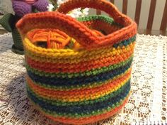 Looking for crocheting project inspiration? Check out Rainbow Basket by member LeeQuinn. - via @Craftsy