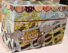 Art journal box 2, by heidiologyart, via Flickr.  Altered recipe box (one dollar at Michael's) for index cards: art on the front, journal entry on the back.  Good idea for a less intimidating format  :-)  #journal #art #box #index_card