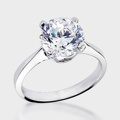 3.0 Ct. Round Four Prong 14K CZ Engagement Ring