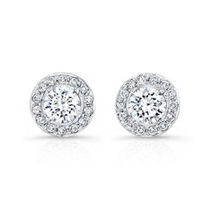 18k White Gold Prong Halo Diamond Stud Earrings  NK27196-18W #diamond #earrings #jewelry