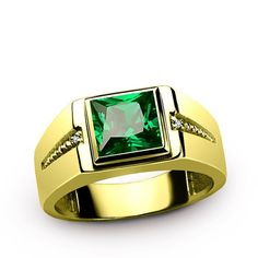 Men's Diamond Ring 14K Yellow Gold with Green Emerald Gemstone, Genuine Diamonds Ring for Men