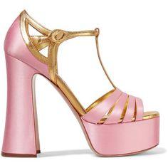 Miu Miu Metallic leather-trimmed satin platform sandals