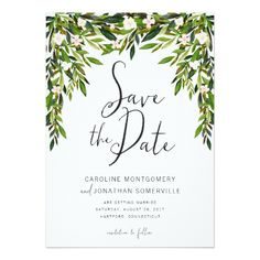 Greenery Wedding Save the Date Greenery Save the Date Card Full Names