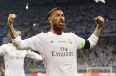 Real Madrid's Sergio Ramos celebrates after scoring his side's first goal during the Champions League final soccer match between Real Madrid and Atletico Madrid at the San Siro stadium in Milan, Italy, Saturday, May 28, 2016.