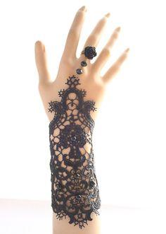 Vintage black lace charm slave bracelet party by prettyladyjewel