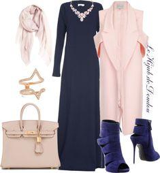 Navy dress, heels, blush pink scarf, necklace, coat, bag, gold ring