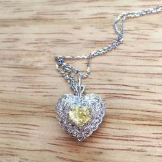 Yellow Sapphire And Diamond Heart Necklace by BFJewelryEst1984