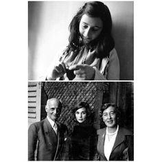 Audrey Hepburn with Otto Frank and Elfriede Geiringer photographed by Mel Ferrer in Bürgenstock, Switzerland, 1957. Above photo Anne Frank circa 1941