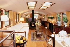 Jan 2016 - Dutch Barge Houseboat for sale, 1914 Living On A Boat, Tiny Living, Living Spaces, Canal Boat Interior, Barge Interior, Interior Design, Barge Boat, Narrowboat Interiors, Dutch Barge