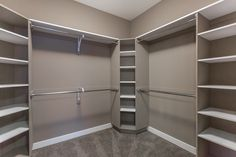 Tons of Shelving and Hanging Space Available in this Walk-in Closet! Tons of Shelving and Hanging Space Available in this Walk-in Closet! Closet Redo, Closet Remodel, Closet Makeover, Home, Closet Design Layout, Closet Designs, Closet Decor, Bathroom Closet, Closet Layout