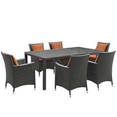 Sojourn 7 Piece Outdoor Patio Sunbrella® Dining Set