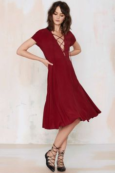 Wait & See Lace-Up Dress - Burgundy | Shop Clothes at Nasty Gal!
