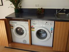 Hidden washer and dryer: cool idea.