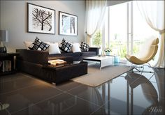 Modern Living Room With A Dark Couch1 Warm and Cozy Rooms Rendered By Yim Lee Photo 1 | Home Design, Interior Decorating, Bedroom Ideas - Getitcut.com : Home Design, Interior Decorating, Bedroom Ideas – Getitcut.com