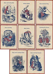 Details about Vintage inspired Alice in Wonderland small cards tags ATC altered art set of 8