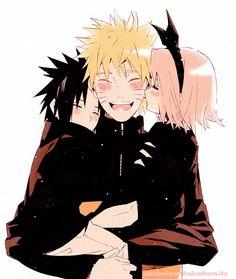 Aww Naruto and little Sasuke and Sakura