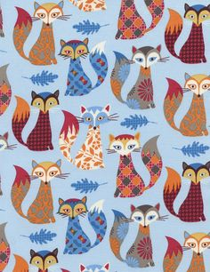 Patterned Foxes C3804 Blue
