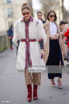 2c9fbf5e925 New Style Winter · 2018 Olivia Palermo wears a white fur coat outside  Giambattista Valli during Paris Fashion Week Womenswear