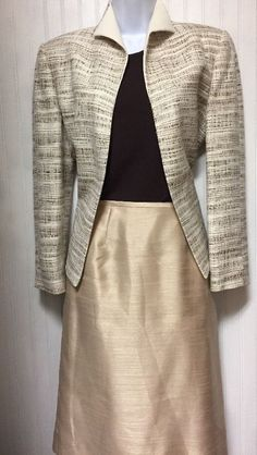 LESUIT AND CLAIBORNE WOMENS  BROWN IVORY GOLD BUSINESS SKIRT SUIT SIZE 6 /6P  | eBay