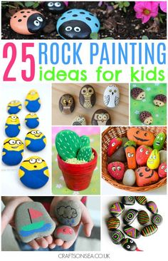 The coolest and cutest rock painting ideas for kids! Simple, fun and achievable ideas for painted rocks that kids can make with bugs, birds, minions + more