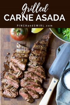 Ever wondered how to cook Carne Asada? With a simple Carne Asada Marinade with fresh citrus juices and spices, you can make the most delicious and authentic Carne Asada recipes! Throw Carne Asada on the grill / BBQ and in less than 15 minutes you'll have dinner! Make Tacos, Salads, Burritos, Nachos, and more!! #carneasada #steak #mexicanfood #tacos #skirtsteak #flanksteak #authenticcarneasada #howtocookcarneasada Grilling Recipes, Meat Recipes, Mexican Food Recipes, Cooking Recipes, Spanish Recipes, Grilling Tips, Mexican Dishes, Seafood Recipes, Barbecue