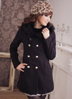 Graceful Black Bowtie Adorned Cashmere Plus Size Coats   $28.90