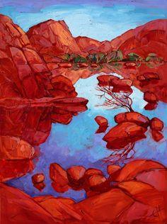 Barker Dam Joshua Tree National Park oil painting by Erin Hanson